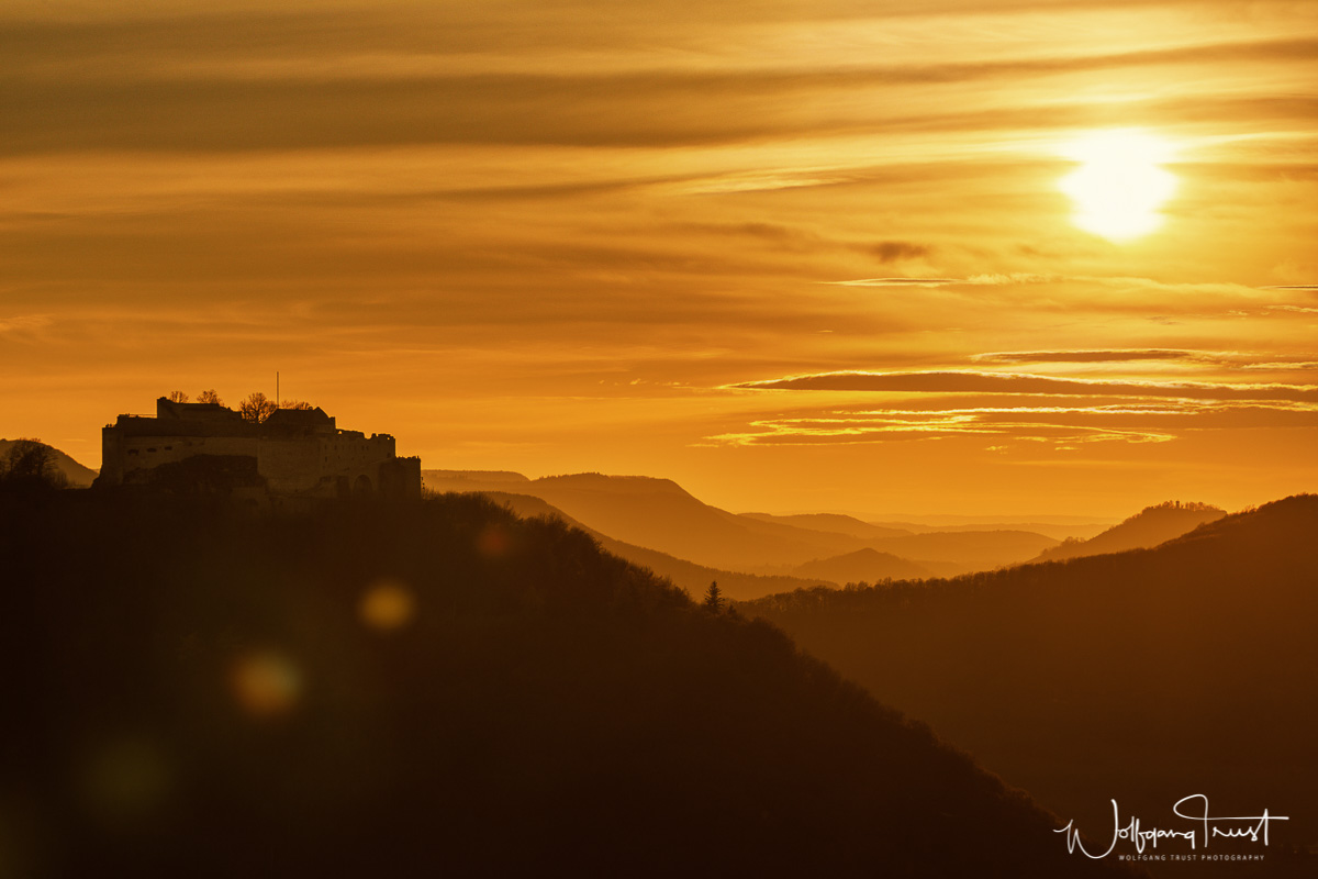 Hohenneuffen bei Sonnenuntergang