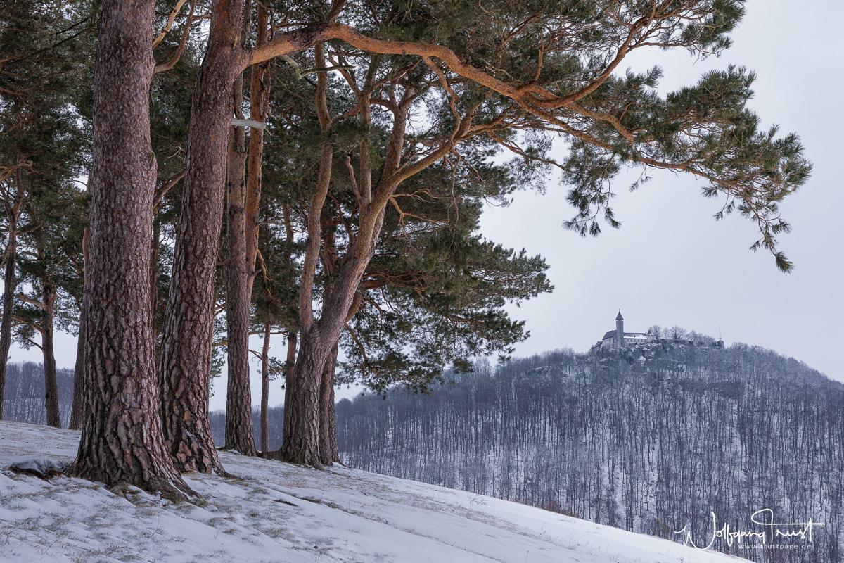 Winterliche Teck mit Blick vom Hohenbol